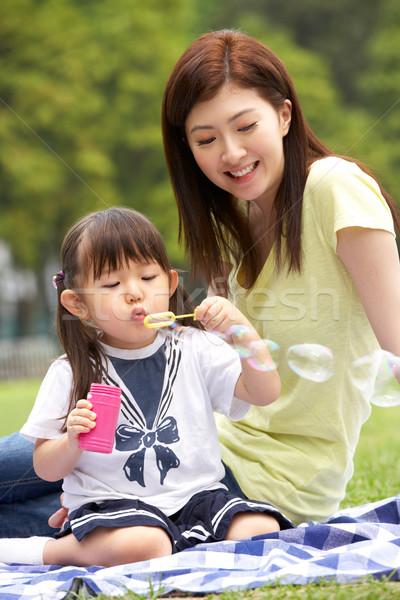 Kínai anya lánygyermek park buborékfújás lány Stock fotó © monkey_business