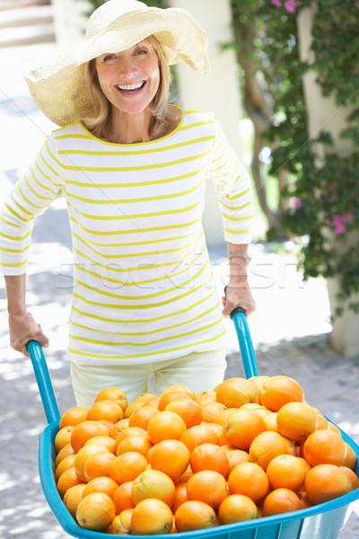Idős nő toló talicska narancsok nők Stock fotó © monkey_business