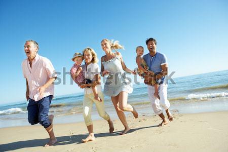 Aile yürüyüş plaj piknik sepeti kadın kız Stok fotoğraf © monkey_business