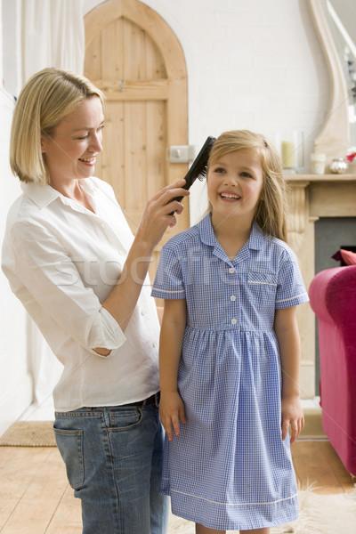 Zdjęcia stock: Kobieta · front · korytarzu · młodych · dziewcząt · włosy
