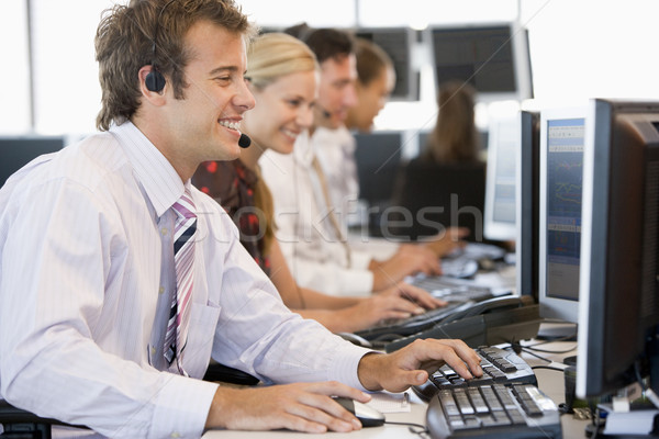 Stock fotó: Stock · dolgozik · számítógépek · számítógép · üzletember · ül