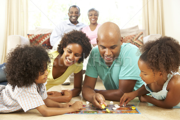 Photo stock: Famille · jouer · maison · grands-parents · regarder