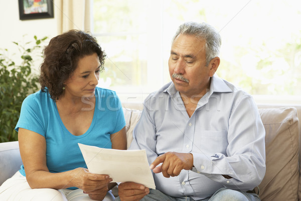 Stock foto: Studium · finanziellen · Dokument · home · Frau