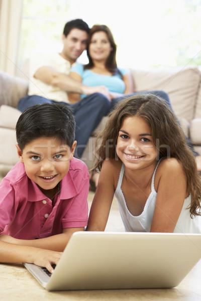 Stockfoto: Kinderen · lezing · boek · home · familie · man