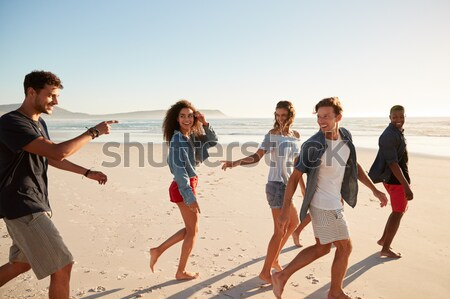 Group Of Friends Running Along Beach Together Stock photo © monkey_business