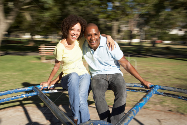Young Couple Riding On Roundabout In Park Stock photo © monkey_business