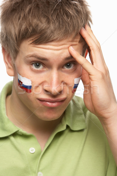 Deluso giovani maschio sport fan bandiera Foto d'archivio © monkey_business