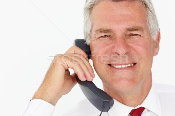 Foto stock: Senior · empresário · telefone · trabalhar · trabalhando · retrato