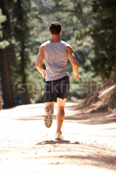 Young man running along country lane Stock photo © monkey_business
