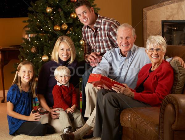 Stok fotoğraf: Açılış · Noel · hediyeler · ağaç · kadın