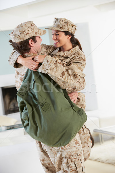 Military Couple Greeting Each Other On Home Leave Stock photo © monkey_business