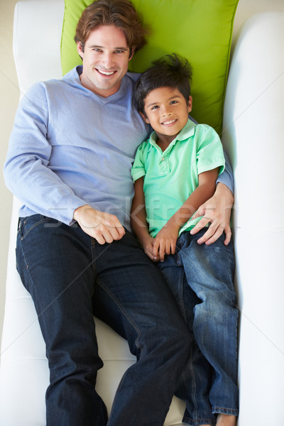 Stockfoto: Vader · zoon · ontspannen · sofa · kinderen · liefde