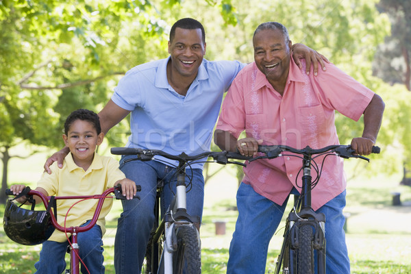 Grandfather grandson and son bike riding Stock photo © monkey_business