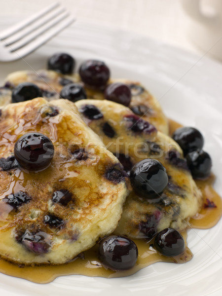 Plate Of Blueberry Pancakes With Maple Syrup Stock photo © monkey_business