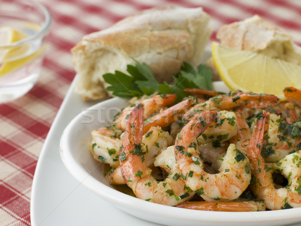 Dish of Garlic Buttered Tiger Prawns with Rustic Bread Stock photo © monkey_business
