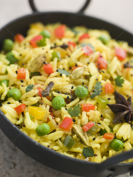 Vegetable Pilau Rice in a Balti Dish Stock photo © monkey_business