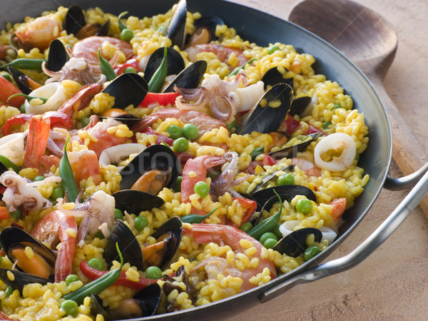 Seafood Paella in a Paella Pan Stock photo © monkey_business