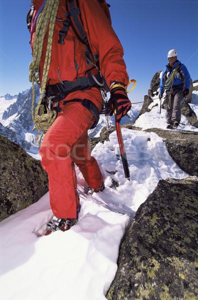 Genç erkekler dağcılık spor kar dağ Stok fotoğraf © monkey_business