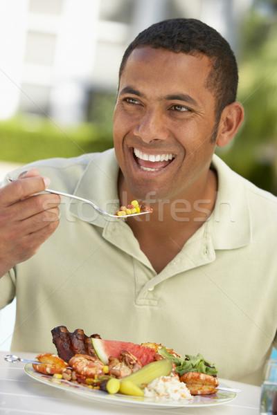взрослый человека столовой фреска саду пластина Сток-фото © monkey_business