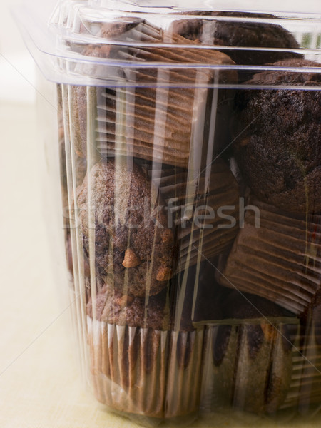 Double Chocolate Chip Muffins In A Plastic Box Stock photo © monkey_business