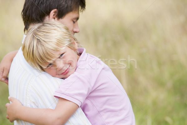 Сток-фото: отец · сын · улице · улыбаясь · ребенка