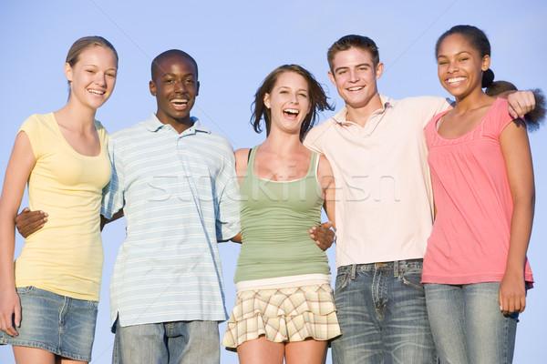 Retrato grupo adolescentes aire libre amigos ninas Foto stock © monkey_business