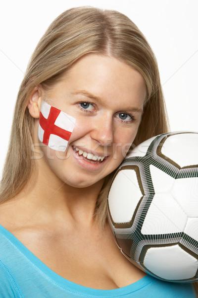 Giovani femminile calcio fan bandiera verniciato Foto d'archivio © monkey_business