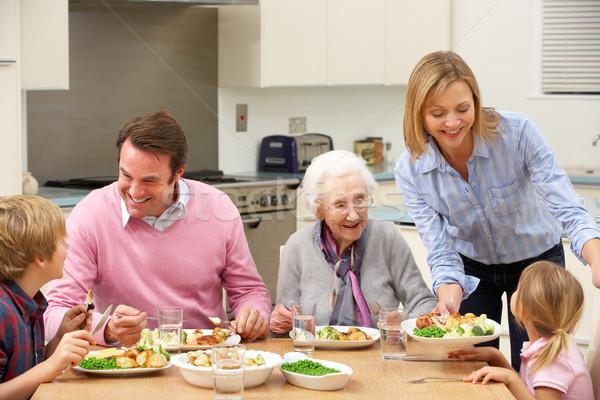 Rodziny podział posiłek wraz dziewczyna żywności Zdjęcia stock © monkey_business