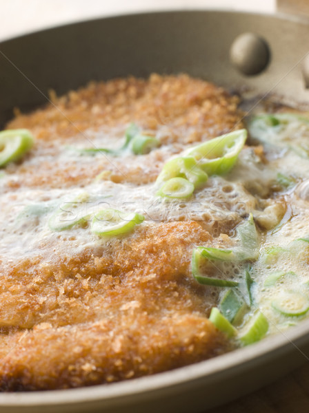 Katsu-Don cooking in A Japanese Frying Pan Stock photo © monkey_business