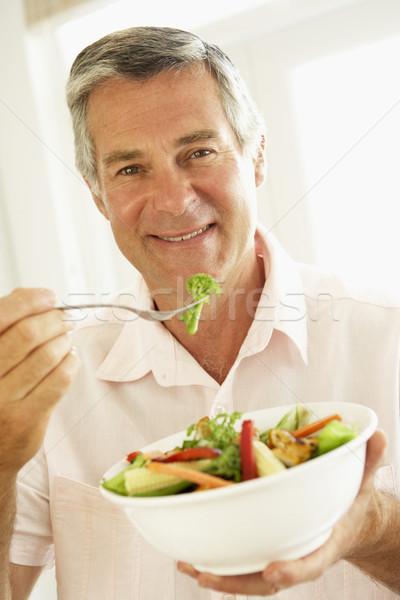 ストックフォト: 健康的な食事 · サラダ · 食品 · 男 · 肖像