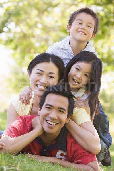 Сток-фото: семьи · улице · улыбаясь · девушки · детей · дети