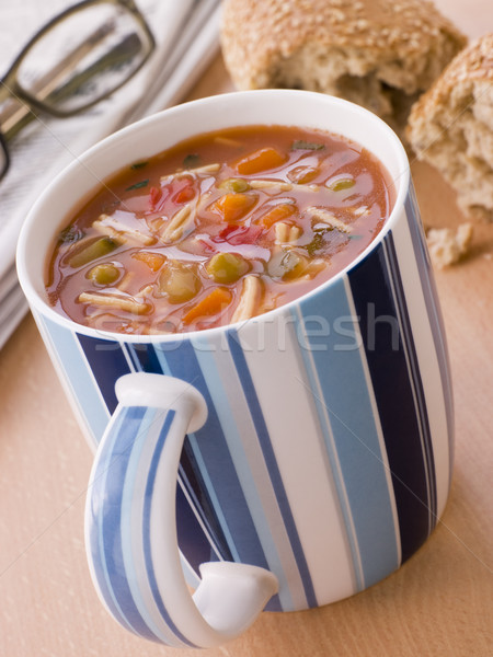 Cup Of Vegetable And Pasta Soup With A Granary Bread Roll Stock photo © monkey_business