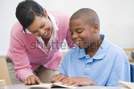 Stockfoto: Leraar · schoolmeisje · middelbare · school · klasse · man · boeken