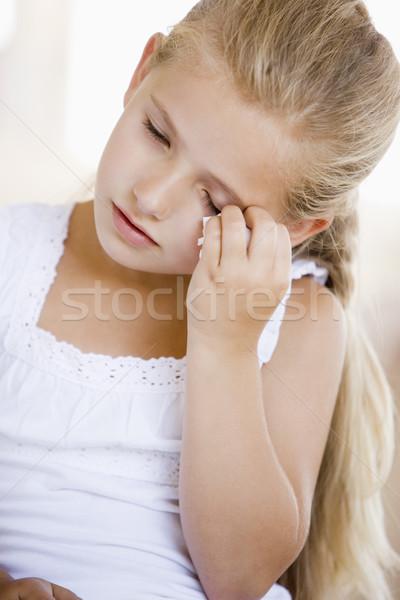 Stock fotó: Lány · fejfájás · gyermek · sír · szín · egészségügy