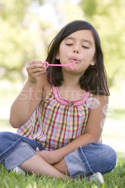 Fiatal lány buborékfújás kint gyerekek fű gyermek Stock fotó © monkey_business