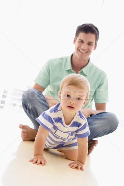 Foto stock: Pai · bebê · jogar · sorridente · feliz
