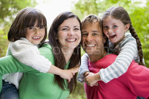 Stockfoto: Familie · buitenshuis · glimlachend · kinderen · gelukkig · bomen