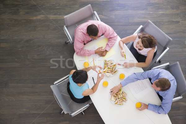 Vier boardroom tabel sandwiches business Stockfoto © monkey_business