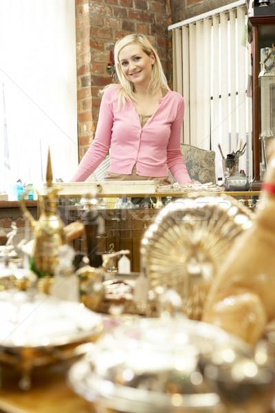 Női antik bolt birtokos nő portré Stock fotó © monkey_business