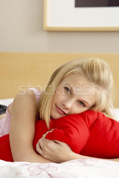 Quarto travesseiro cara triste Foto stock © monkey_business
