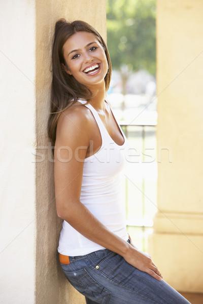 Foto stock: Mulher · jovem · cidade · jovem · feminino
