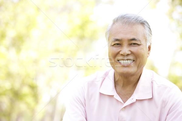 Foto stock: Retrato · senior · homem · parque · jardim · asiático