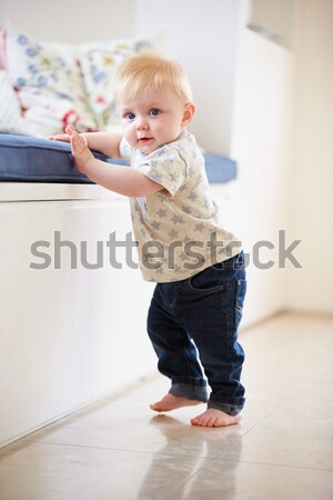 Baby Girl Learning To Stand Up At Home Stock photo © monkey_business