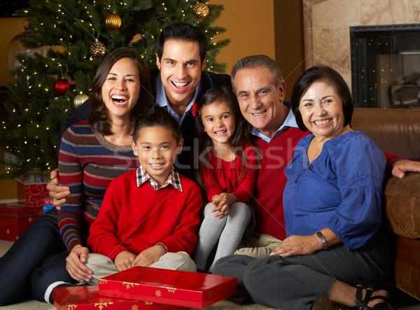 Többgenerációs család karácsonyfa család nők boldog gyermek Stock fotó © monkey_business