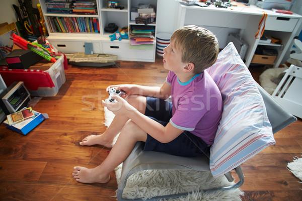 Foto stock: Menino · jogar · jogo · vídeo · feliz · criança