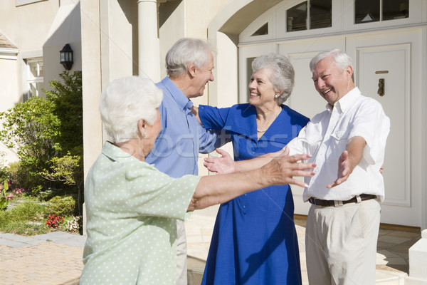 Senior couple greeting friends Stock photo © monkey_business