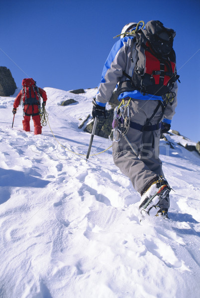 Fiatal férfiak hegymászás csúcs hó kék ég mászik Stock fotó © monkey_business