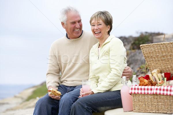 Stockfoto: Paar · eten · maaltijd · strand · gelukkig