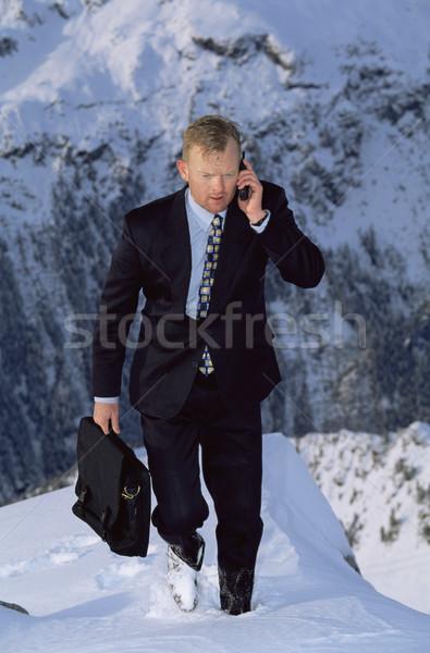 Geschäftsmann Freien Berg Mobiltelefon Business Schnee Stock foto © monkey_business