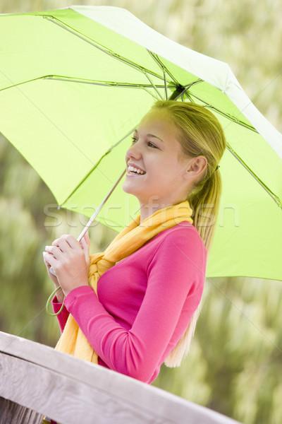 Portrait adolescente extérieur adolescent parc parapluie Photo stock © monkey_business